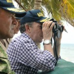 Juan Manuel Santos durante su reciene visita al archipiélago nicaragüense de San Andrés.