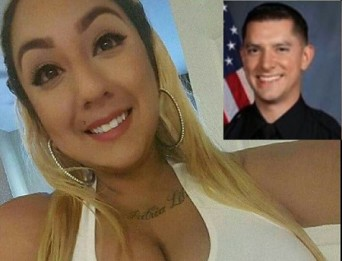 Jasmine Abuslin, la joven que asegura fue prostituida por policías de Estados Unidos. Inserto el policía Brendan O'Brien, cuyo suicidio destapó el escándalo.