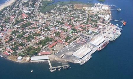 Vista aérea del puerto de Corinto, en Nicaragua.