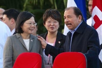 La presidenta Tsai Ing-wen y el presidente Daniel Ortega.